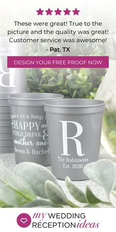 16 Ounce Dishwasher safe plastic stadium style cups personalized with wedding design & 4 lines of custom print. See what your wedding cups will look like Wedding Cups, Wedding Reception, Wedding Bells, Personalized Cups, Cupping Set, Wedding Designs, Wedding Ideas, How To Memorize Things, Plastic