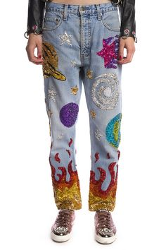 ONE-OFF UNIVER$E HAND-SEQUINNED JEANS