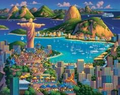 """Dowdle Folk Art Rio De Janeiro Jigsaw Puzzle (500 Piece)  Finished puzzle will measure out to be 16"""" x 20""""  High quality puzzle cardboard  Made of a blue chip board that is Imported from Holland"""