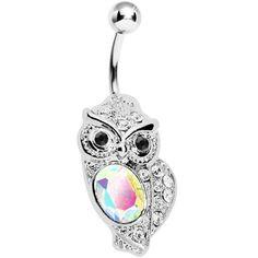 Aurora Borealis Midnight Owl Belly Ring | Body Candy Body Jewelry #bodycandy