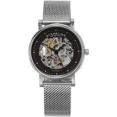 $154 - Overstock Stuhrling Original Women's Casatorra Automatic Skeleton Stainless Steel Mesh Band Watch