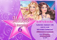 Barbie Princess and the popstar Invitation, created in MS Publisher