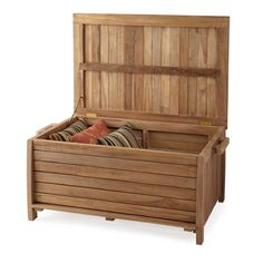 Charmant 3 Ft Terrel Natural Teak Storage Box Outdoor