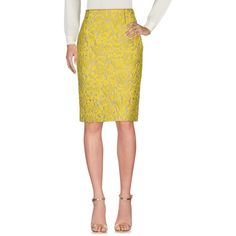 Prada Knee Length Skirt (2,485 SAR) ❤ liked on Polyvore featuring skirts, acid green, jacquard skirt, white knee length skirt, white zip skirt, prada and print skirt