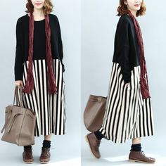 Color Block Round Neck Cotton Long Sleeve Long Dress Women Tops Q0703A