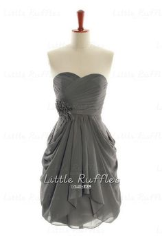 Dark Grey Bridesmaid Dress,Chiffon Prom Dress Grey,Chiffon Bridal Party Dress,Gray Cocktail Dress,Knee Length Grey Bridesmaid Dress(BCD211) on Etsy, $87.99