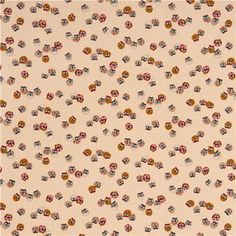 beige Kyoto owl Japan cotton fabric structured - Owl Fabric - Fabric - kawaii shop modeS4u
