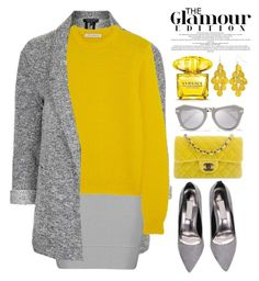 """""""YELLOW AND GREY"""" by bmaroso ❤ liked on Polyvore featuring Topshop, J.W. Anderson, Chanel, Karen Walker and Versace"""