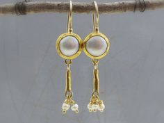 24k Fine Gold Earrings  Pearls Earrings  Wedding  by Omiya on Etsy