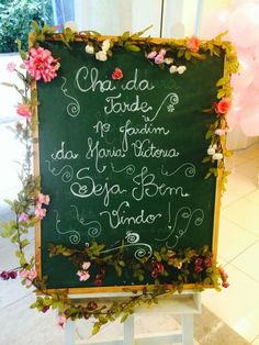 Cha da tarde                                                       … Afternoon Tea Parties, Bday Girl, 90th Birthday, Coffee Break, Holidays And Events, Wedding Signs, Tea Time, Tea Party, Chalkboard