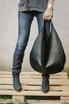 Cuir noir Hobo Bag, chaque sac de jour, le sac fourre-tout