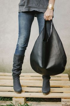 Black Leather Hobo Bag every day bag tote bag by PatkasBerlin