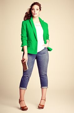 Anne Klein Blazer, DKNYC Top & Two by Vince Camuto Jeans | Nordstrom    (Please note: Though the model may NOT be plus, the ITEM is available in plus sizes. My posting is about the outfit, NOT the model wearing it. <3)
