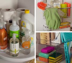 use lazy susan, over the door cabinet basket, and clear stacking bins to organize cleaning supplies in the kitchen