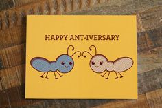 Happy Ant-iversary Card - Funny Cute Anniversary Card - Ants Bugs Animal Pun - Greeting Card