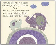 Kids Room Decor, Nursery wall Art print, baby elephant ..No one else will ever know...gray and lilac, purple, lavender
