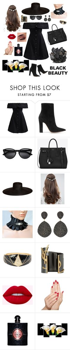 """""""Black Beauty♥"""" by gayumihansi ❤ liked on Polyvore featuring WithChic, Gianvito Rossi, Yves Saint Laurent, Samuji, ASOS, Latelita, Piggy Paint, Rick Owens Lilies and McCoy Design"""