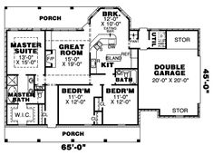 First Floor Plan of Country   House Plan 67049