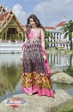 Pure #Cotton Printed #Anarkali #Suit with Nazneen #Dupatta, Pure Cotton Material for the bottom.