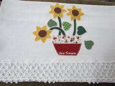 Guardanapo vaso com girassol (vaniathomazim) Tags: flores flower flor patchwork cozinha girassol guardanapo croche guardanapos patchcolagem