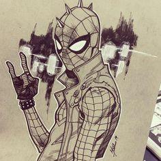Quick sketch at Megacon Orlando Anchor Drawings, Dark Drawings, Marvel Drawings, Spiderman Girl, Spiderman Drawing, Amazing Spiderman, Marvel Fan Art, Marvel Wallpaper, Spider Verse