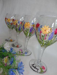 Hand Painted Wild Flower Wine Glasses  GIFT by samdesigns22, $22.00