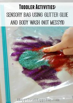 Activities: Sensory Bag Using Glitter Glue and Body Wash (NOT Messy!) Toddler Activities: Sensory Bag Using Glitter Glue and Body Wash (NOT Messy!)Toddler Activities: Sensory Bag Using Glitter Glue and Body Wash (NOT Messy! Toddler Play, Toddler Learning, Toddler Crafts, Crafts Toddlers, Toddler Games, Games For Toddlers, Infant Activities, Activities For Kids, Toddler Activities Daycare