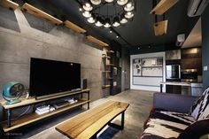 Ando tadao TV feature wall, cement screed flooring, industrial theme home Studio Interior, Interior Design, Interior Ideas, Tv Feature Wall, Industrial Interiors, City Life, Home Furnishings, Flooring, Table