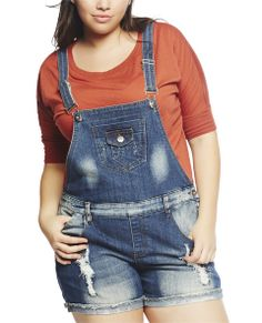 """This shortall by Dollhouse is a total must for this season! It features a medium sandblast denim body, full bib with center pockets, adjustable shoulder straps, t-back, belt loops, destroyed detailing, five pocket design, cuffed hem, and a pull on construction.  Model is 5'9"""" and wears a 1X   4"""" Inseam 68% Cotton / 30% Polyester / 2% Spandex Machine Wash Imported"""