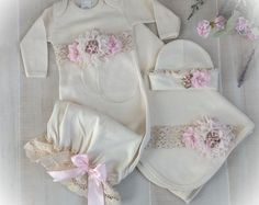 Items similar to Newborn Girl Layette, Baby Girl Coming Home Outfit, Newborn Gown, Pink Victorian Baby Outfit on Etsy Going Home Outfit, Girls Coming Home Outfit, Take Home Outfit, Newborn Girl Outfits, Baby Girl Newborn, Newborn Clothing, Girl Clothing, Boy Outfits, Onesie Dress