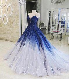 2fd6fbcefea A-ligne de robe de bal Ombre avec appliques bleu royal robes de bal Robe