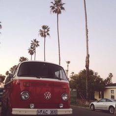 VW and palms. California