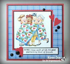 Karen Day for Art Impressions - new Girlfriends stamp - Quilt Set.