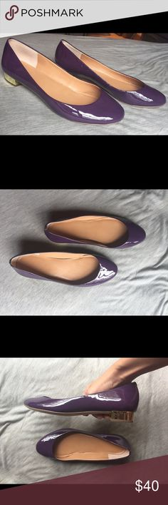 Purple & gold J. Crew kitten heel ballet flats Wore them for 1 occasion and they've been sitting in my closet for years since so it's time to get rid of them! Gorgeous royal purple with a gold block kitten heel. They are super comfy and glossy. Let me know if you'd like more pictures! J. Crew Shoes Flats & Loafers