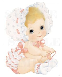 vintage baby cards | Vintage Baby In Baby Bonnet, Girl, digital, download, printable ...