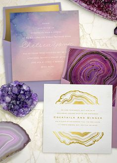 From invitations to cake toppers, geodes are the perfect touch of drop-dead gorg detailing your wedding needs. Here's how to rock the geode wedding trend Wedding Themes, Wedding Designs, Wedding Decorations, Wedding Colors, Perfect Wedding, Dream Wedding, Wedding Day, Wedding Dreams, Blue Wedding