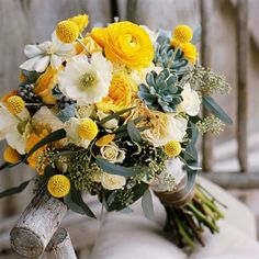 I like the yellow and white but maybe trade out the dusty gray color for some deep red flowers.