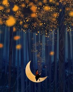 Checkout this beautiful fantasy art by this amazing artist. Calin Gif, Ciel Nocturne, Art Fantaisiste, Beautiful Moon, Moon Art, Whimsical Art, Imagine Dragons, Stars And Moon, Night Skies