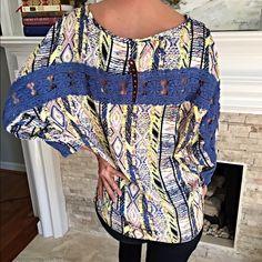 Yellow/blue crochet silk blend crochet top! Last L Beautiful color mix- 3 qtr sleeves - hi- lo with blue crochet detail back! Tops Blouses