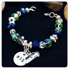 Seattle Seahawks Beaded Bling Hand Stamped Charm by MilestonesShop, $30.00