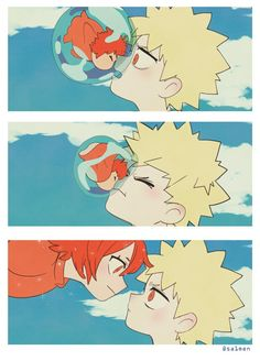 Bakugo and Kirishima in ponyo!(ahhh so cute! My Hero Academia Shouto, Hero Academia Characters, All Meme, Kirishima Eijirou, Anime Crossover, Boku No Hero Academy, Cute Gay, Anime Ships, The Villain