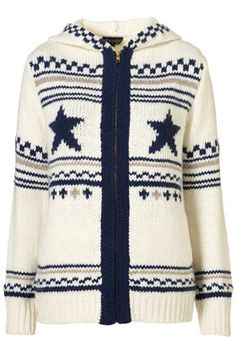 KNITTED GRUNGE PATTERNED HOODY