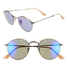 ray-ban icon bronze and blue mirror sunglasses