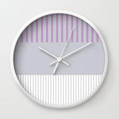 Colour Pop Stripes - Lilac Wall Clock by laec Lilac Walls, Colour Pop, Cambridge, Clocks, Stripes, Cats, Creative, Artwork, Room