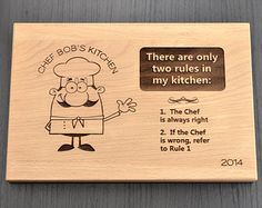 Personalized Chef Cutting Board, Birthday Gift, Custom Chopping Block, Engraved Hostess, Housewarming or Fathers Day Gift, Gourmet Food Gift