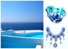Imagine an all white room which opens up to your own private azure blue plunge pool with an idyllic view of never ending ocean. Welcome to #Cavo Tagoo in #Mykonos, #Greece.    What to wear there? We suggest keeping to the cooling tones of blues with the Ocean Bogota Cuff and the Antique Yemeni Blue necklace. Do you agree? All White Room, Mykonos Greece, Plunge Pool, Blue Necklace, Blues, Places To Visit, Around The Worlds, Ocean, Antique