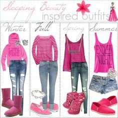 Winter, Fall, Spring, and Summer outfits inspired by Sleeping Beauty.