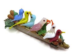 Art Glass Bird Brooch  Vintage French Jewelry by VintageInBloom