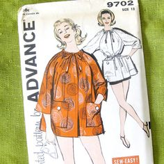 Vintage 50s Sewing Pattern Beach Coat Covuer-Up by SelvedgeShop