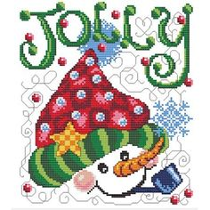 """Machine Cross Stitch """"Jolly Hat"""" This jolly #snowman themed, #machinecrossstitch design is very festive, with wonderful details! Great for garments, accessories, #christmas hotpads, place mats and table runners too!"""